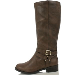 Shoes - Size 5.5 Hiro Brown Faux Leather Riding Boot